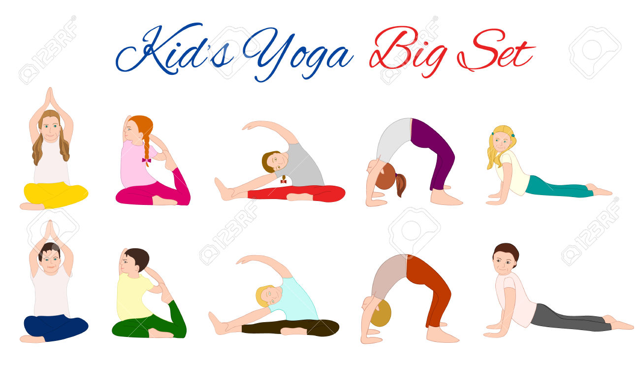 Yoga Kids Set. Gymnastics For Children And Healthy Lifestyle.