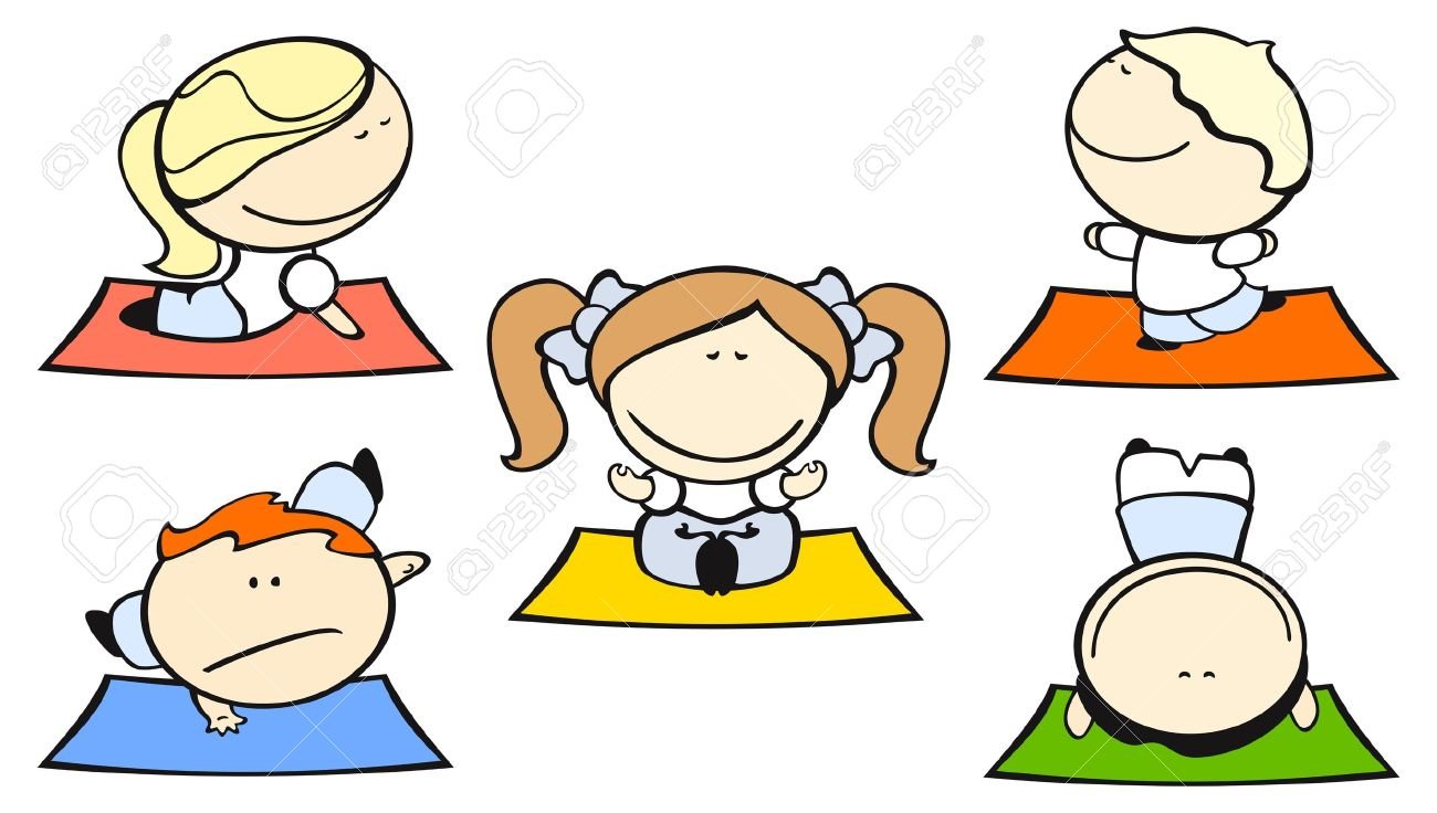 Set Of Images Of Funny Kids On A White Background #29, Yoga Theme.