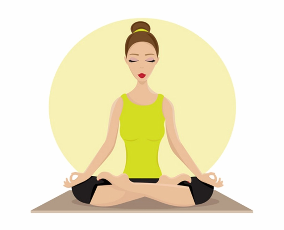 Woman Yoga Lotus Pose Animated Clipart Png Transparent.