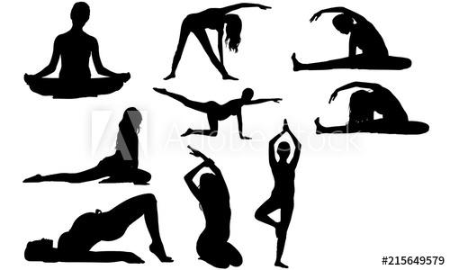 Pregnant Woman Yoga Silhouette.