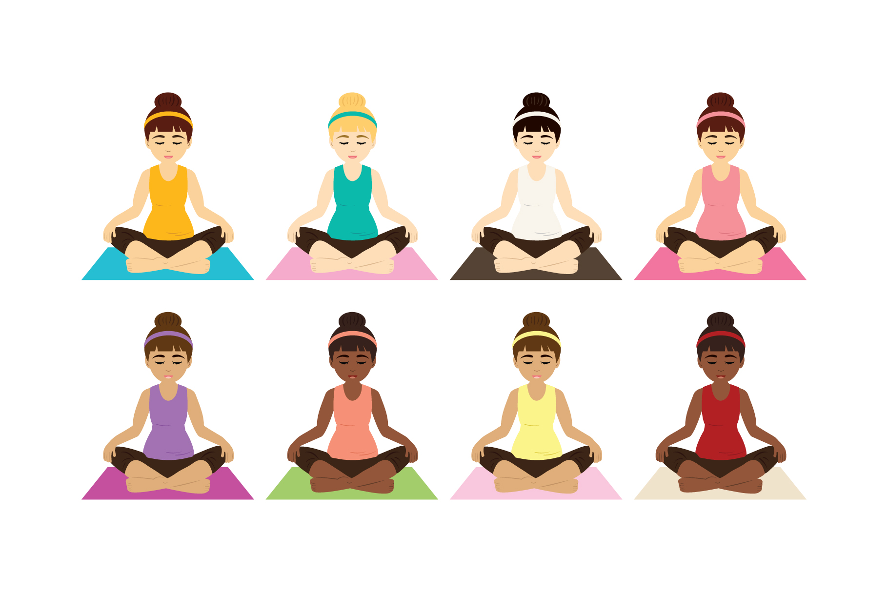 Yoga Girls Clip Art.