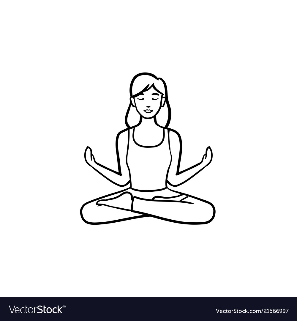 Woman in yoga lotus pose hand drawn outline doodle.