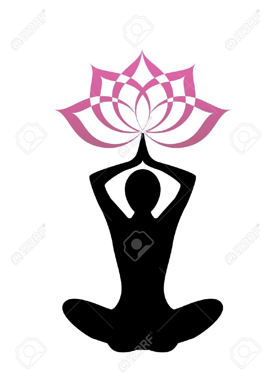 woman meditation pose hands above head outline.