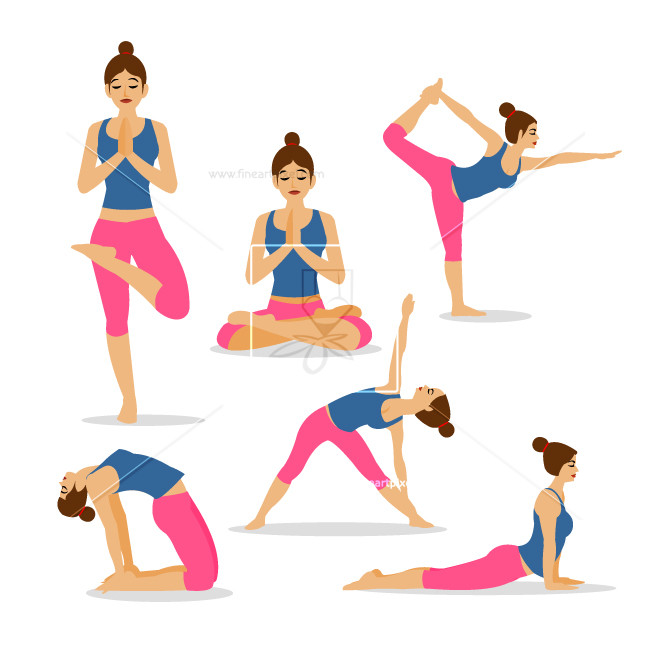 Set of yoga and poses.