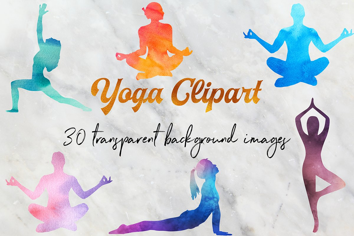 Watercolor Yoga Clipart.