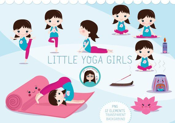 Yoga clipart, yoga girl, yoga graphics, yoga vector.