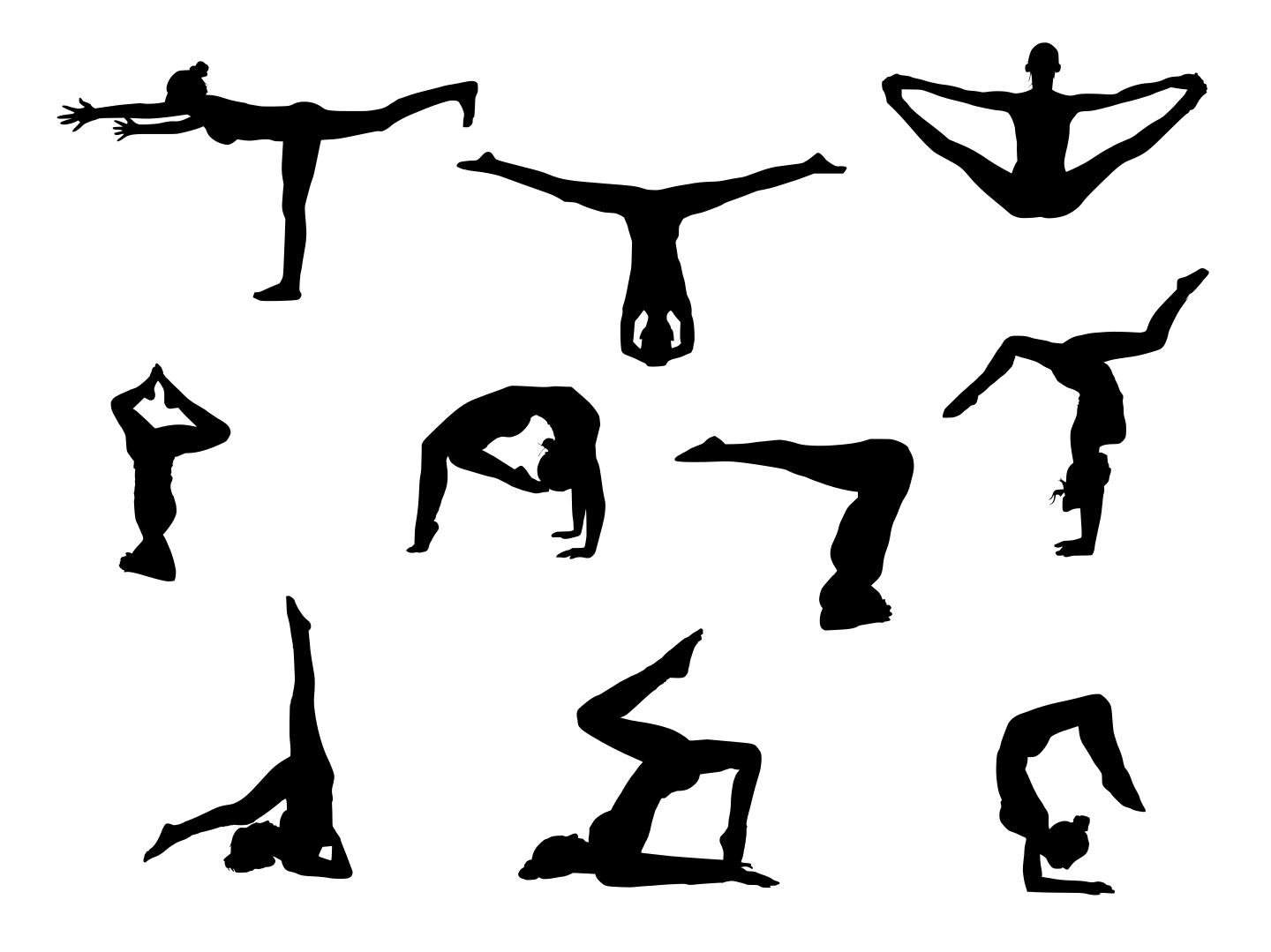 10 Yoga Silhouette (PNG Transparent).