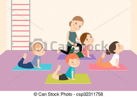 Clipart Vector of Kids yoga with Instructor. Sport lesson for.