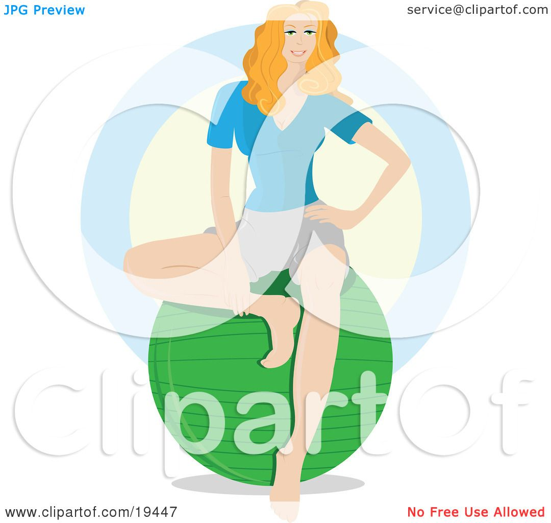 Clipart Illustration of a Beautiful Blond Yoga Instructor Seated.