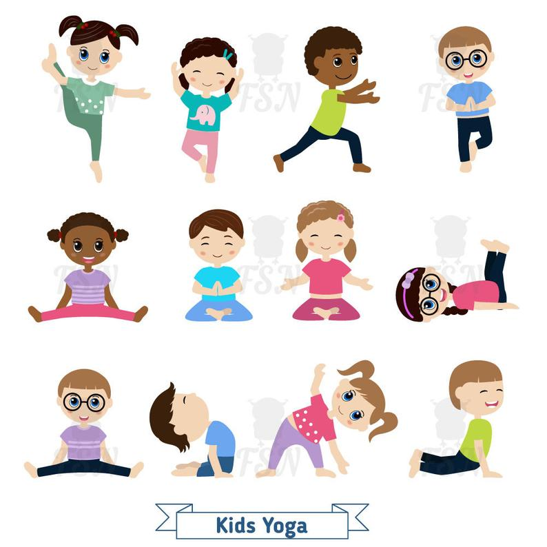 Kids doing yoga in different positions. Digital Clipart. Children yoga  Digital Vector. Children doing yoga Childhood Clip Art.