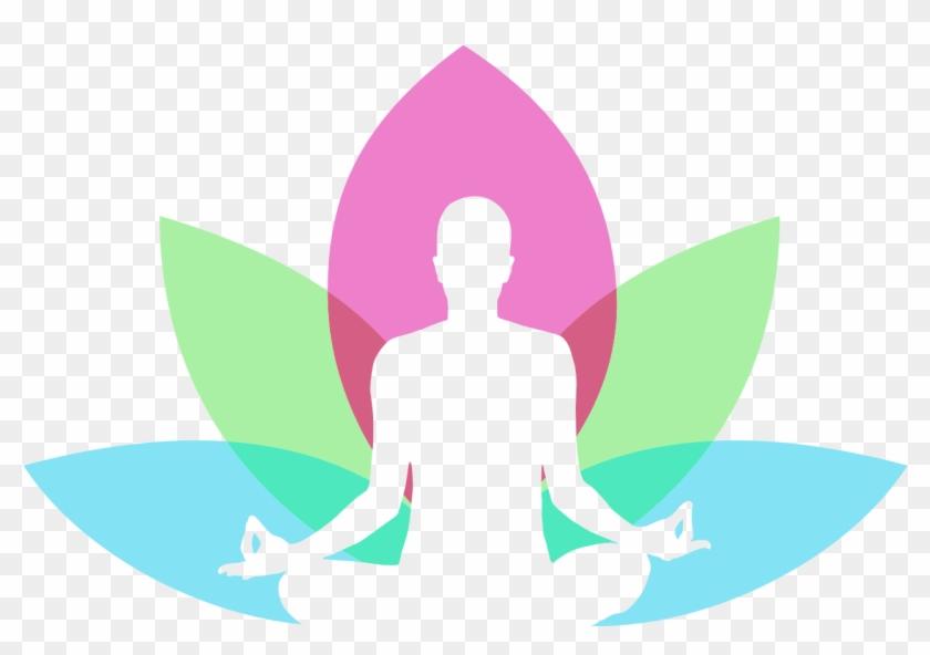 Men With Lotus In Background Yoga Logo Design Png Image.