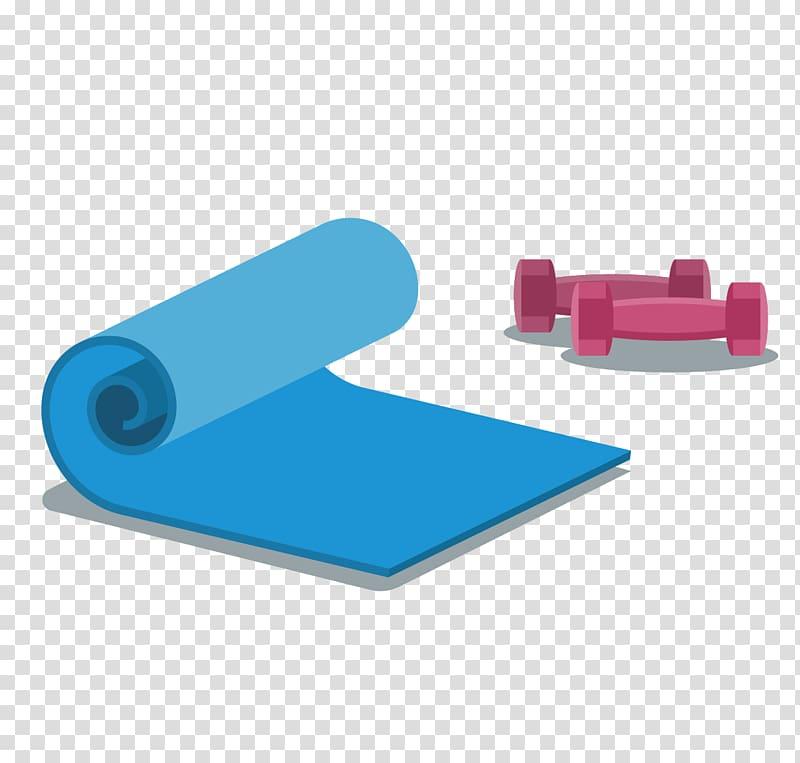 Yoga mat Dumbbell, yoga mat and dumbbells transparent.