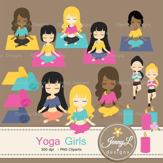 Yoga Girls Clipart, Yoga Mat, Candles Clipart, Zen, Wellness.