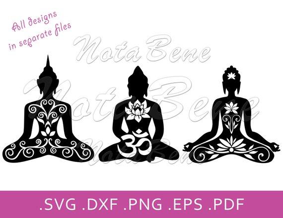 Yoga Meditation Lotus Pose Om SVG Mandala Yoga Lotus Pose.