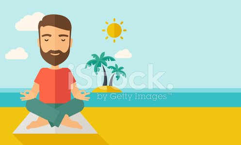 Man doing yoga in the beach Clipart Image.