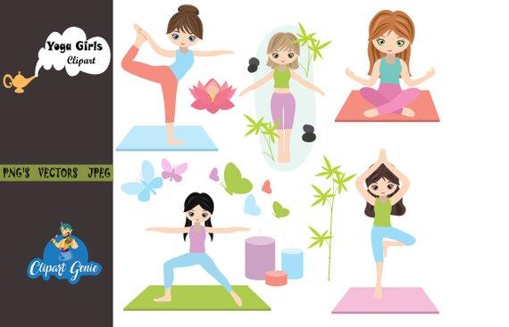 Yoga clipart, Yoga clip art, Yoga girls, fitness clipart.
