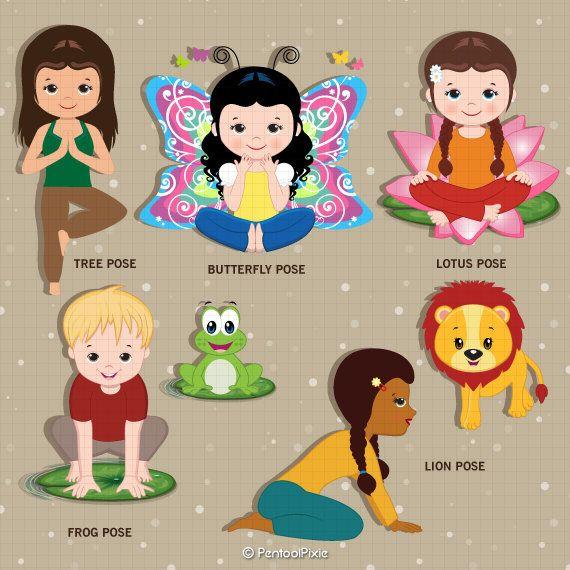 Yoga clipart Kids Yoga Meditation Excercise clipart Yoga.