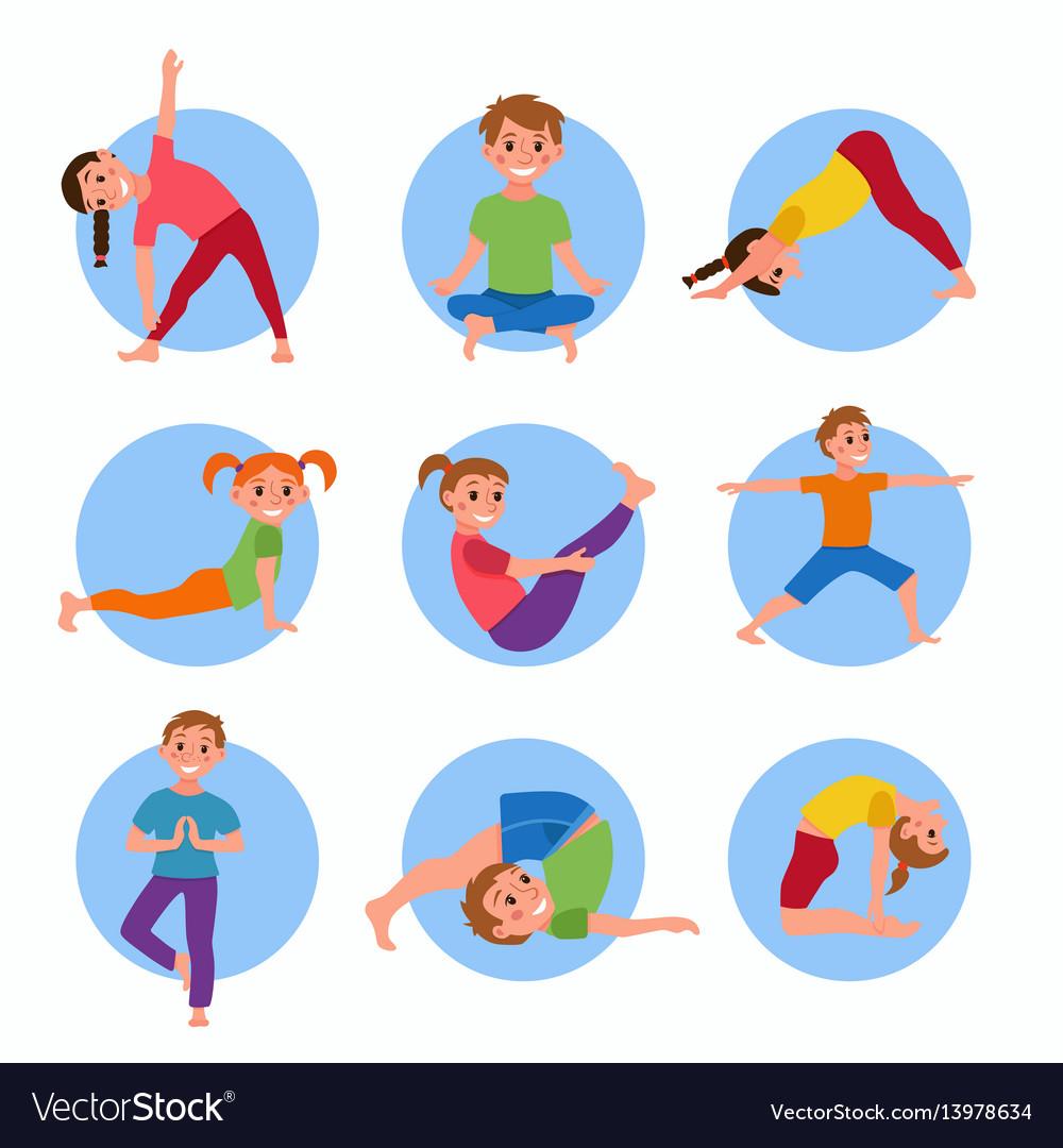 Yoga kids poses set.