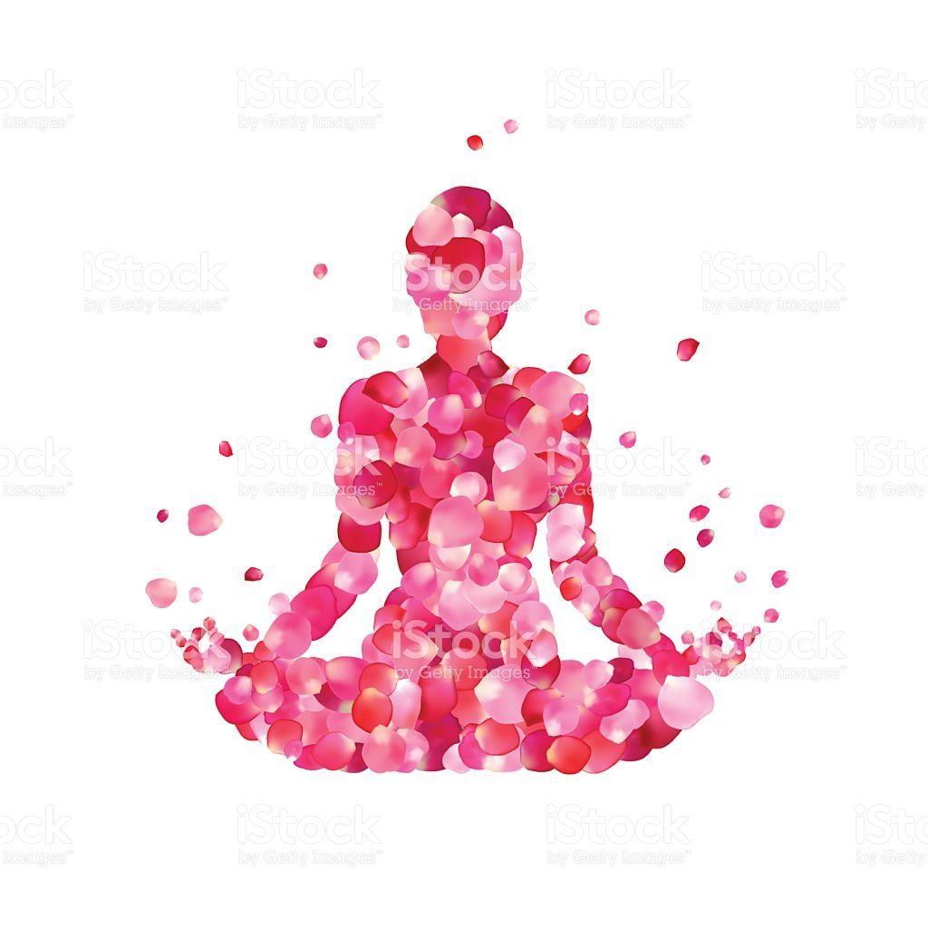 Yoga lotus pose silhouette of rose petals in 2019.
