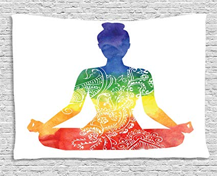 Amazon.com: Ambesonne Yoga Decor Tapestry, Silhouette of a.
