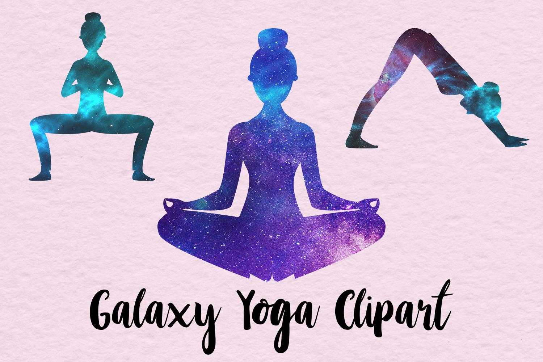 Yoga Clipart, Galaxy Yoga Clipart, Galaxy Yoga Poses.
