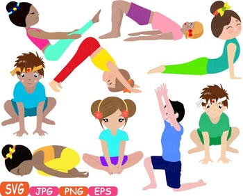 Yoga Poses clip art Silhouettes Fitness sport Health SVG Exercise School.
