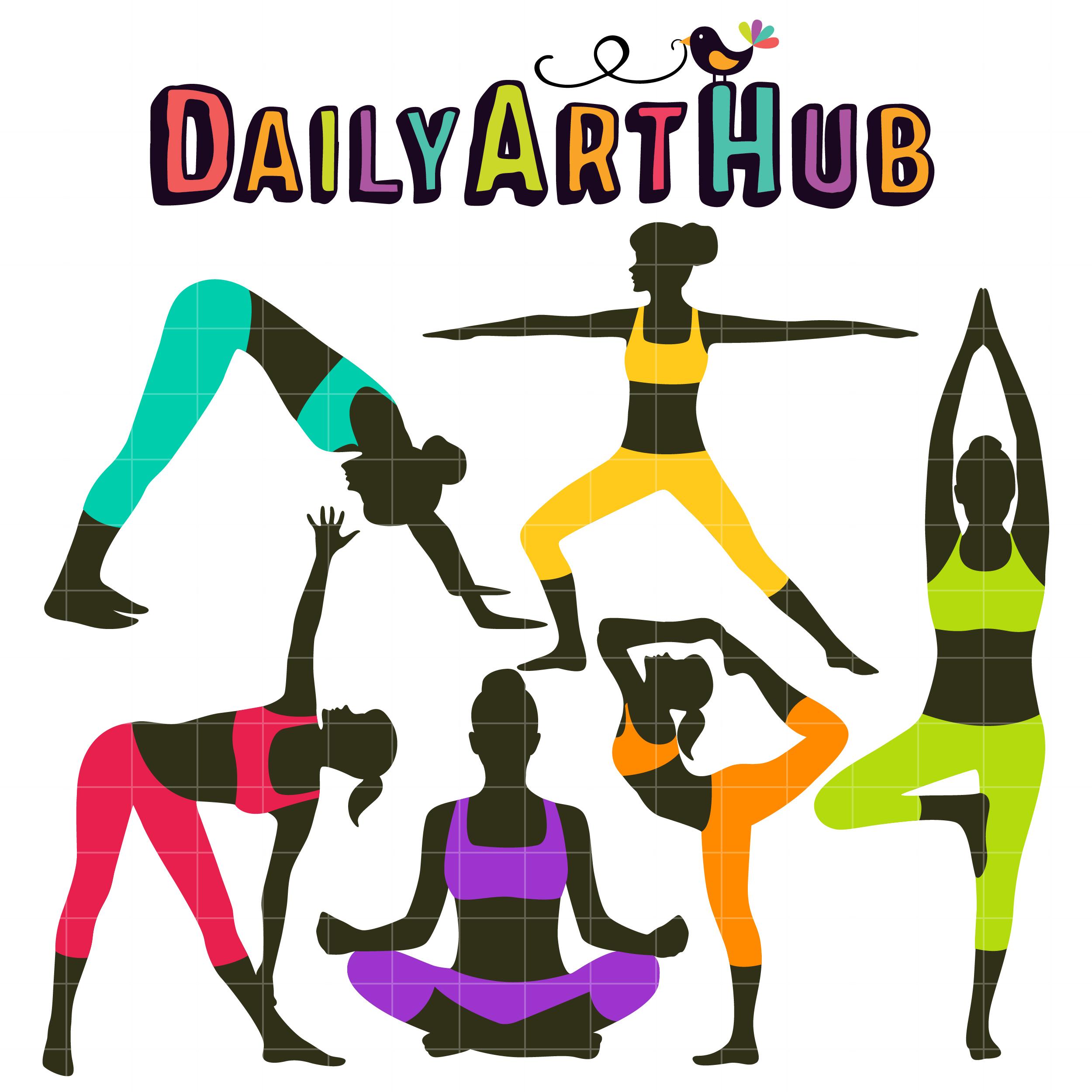 Yoga Poses Clip Art Set.