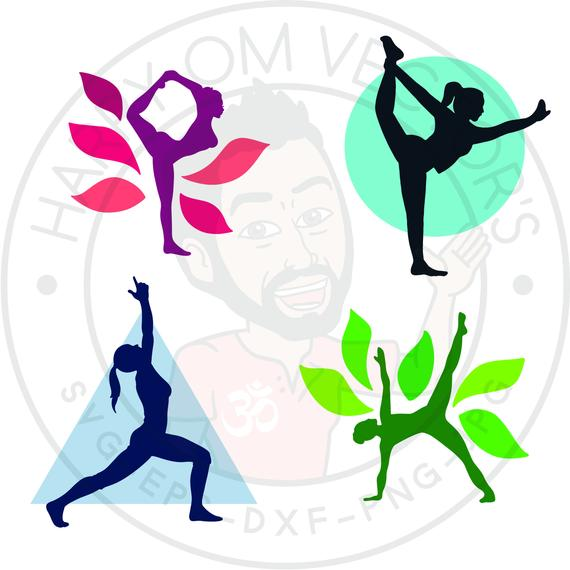 Standing yoga poses Vectors, SVG DXF For Silhouette Cameo Or Cricut,  Natarajasana Illustration, warrior pose clipart.
