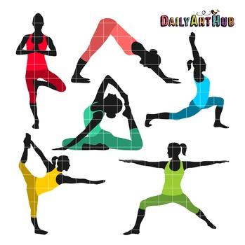 Yoga Poses Collage Clip Art.