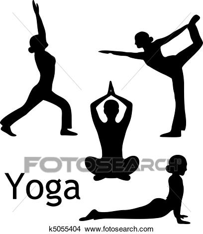 Yoga poses silhouette vector Clipart.