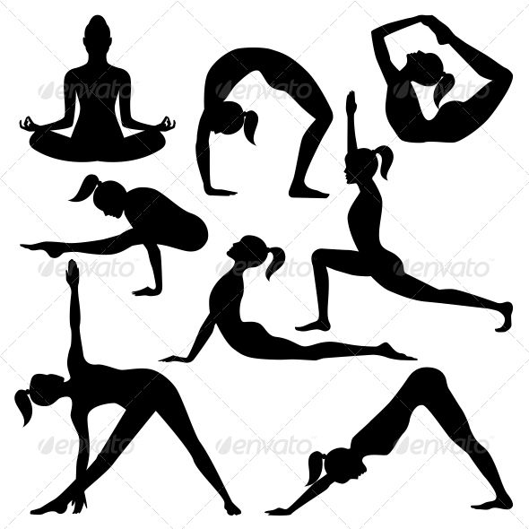 Vector Silhouettes of #Yoga Positions.