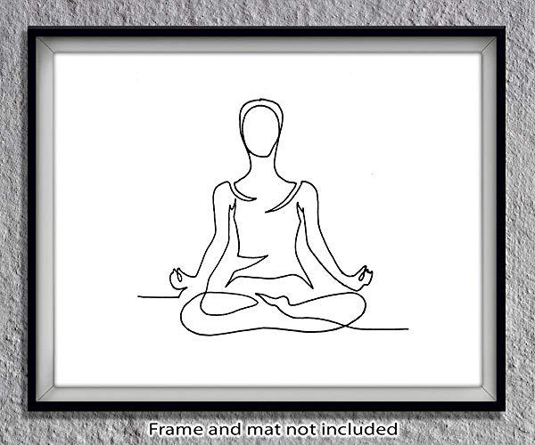 Amazon.com: Yoga Sukhasana Pose Minimalist Black & White.