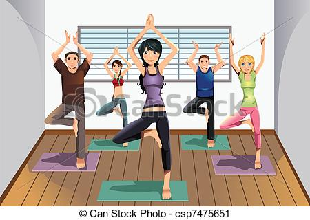 Vector Clip Art of Yoga students at yoga studio.