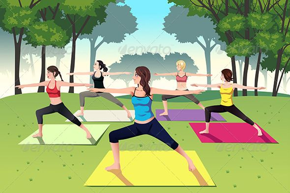 Group of Women doing Yoga in the Park.