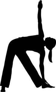 Yoga silhouette clipart black and white.