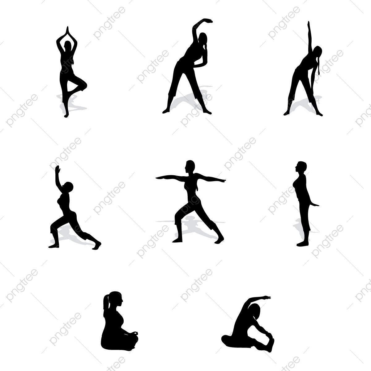 Silhouettes Of Females In Various Yoga Poses, Health, Yoga.