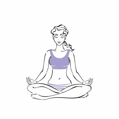 Girl sitting in a Lotus position. Yoga. Meditation. Vector.