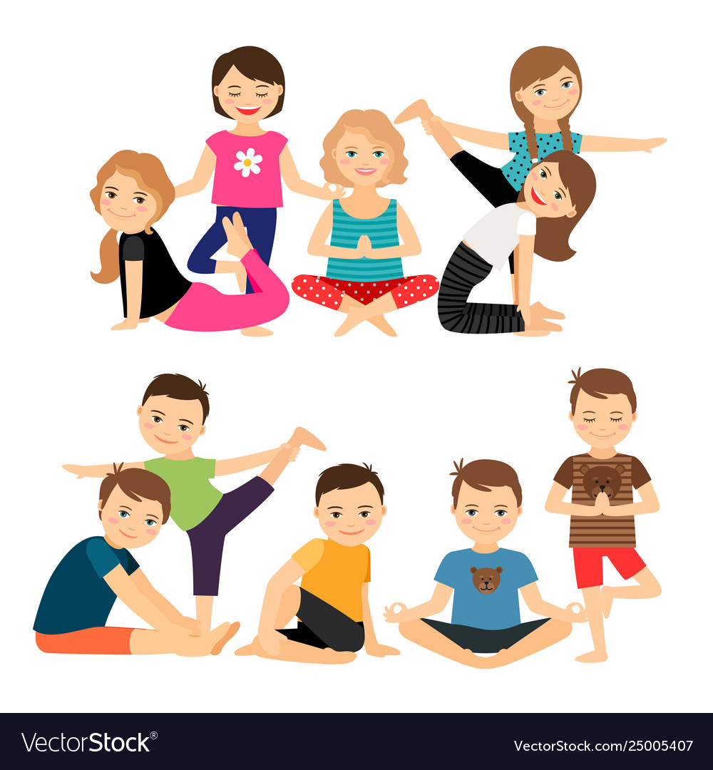 Kids groups in yoga poses.