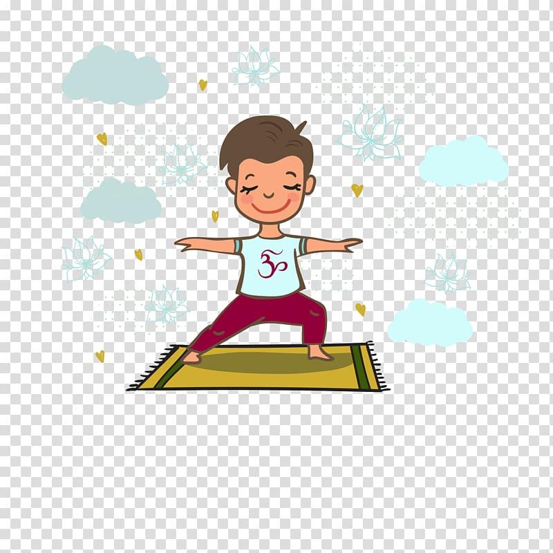 Boy standing on yellow yoga mat illustration, Rishikesh.