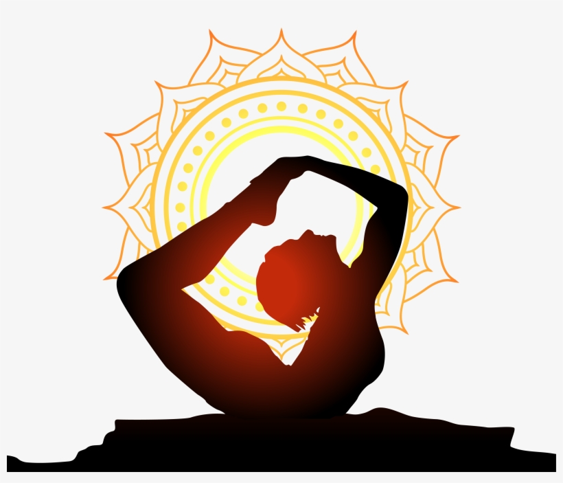 Women Performing Yoga With Sun Background Yoga Logo.