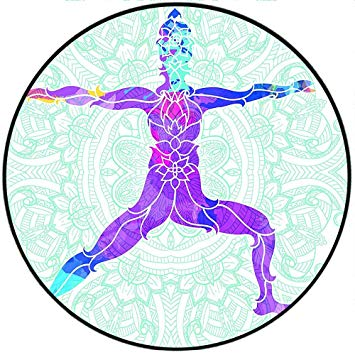 Amazon.com: Short Plush Round Area Rug Girl on Yoga Warrior.