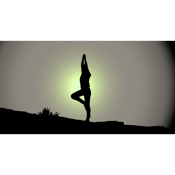 Female Yoga Pose Silhouette Sunrise.