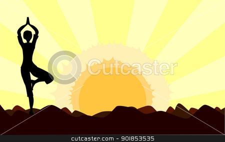 Dawn Yoga stock vector.
