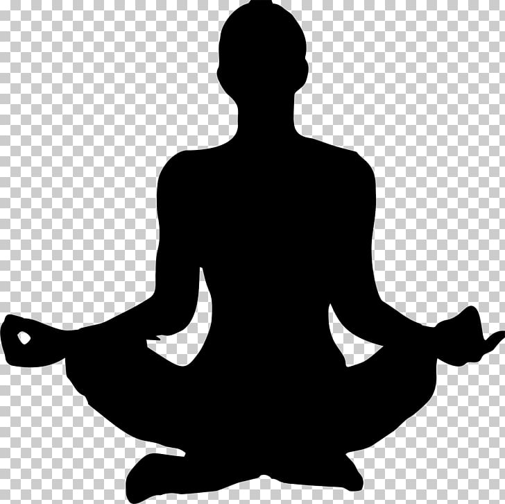 Yoga Silhouette Woman , black and white PNG clipart.