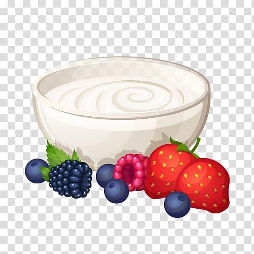 Breakfast cereal Pancake Food , Illustration of yogurt.
