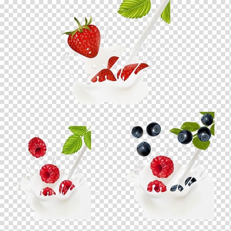 Coffee milk Yogurt Berry, Various fruit and milk transparent.