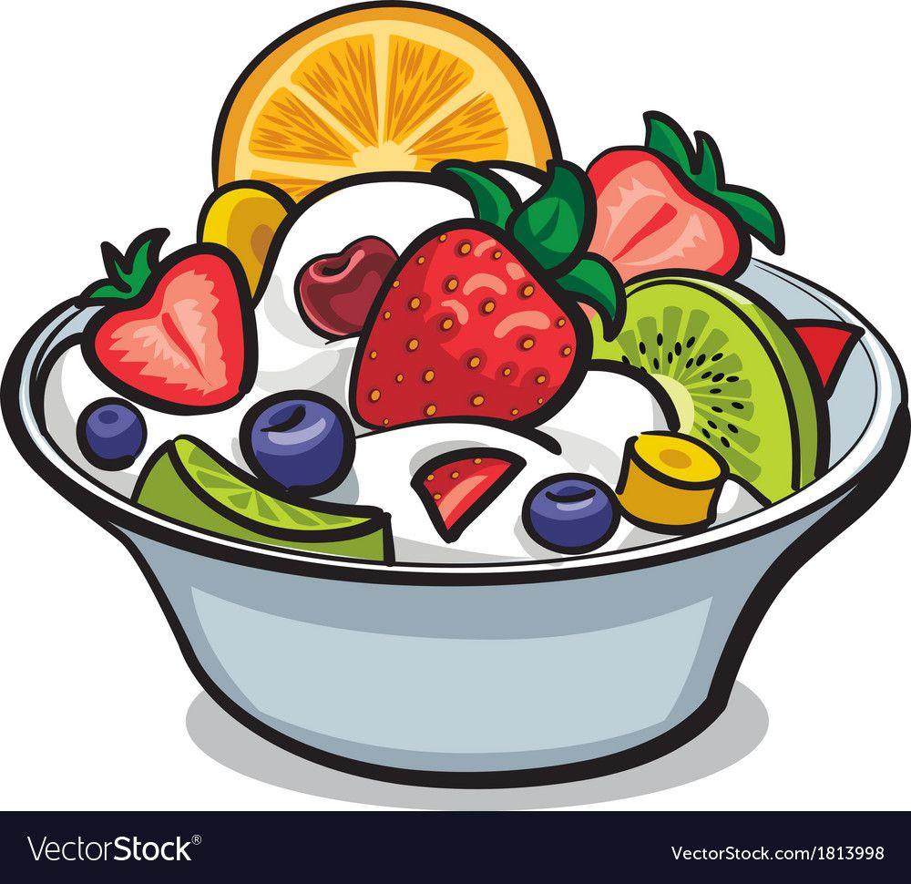 Fruit yogurt salad Royalty Free Vector Image.