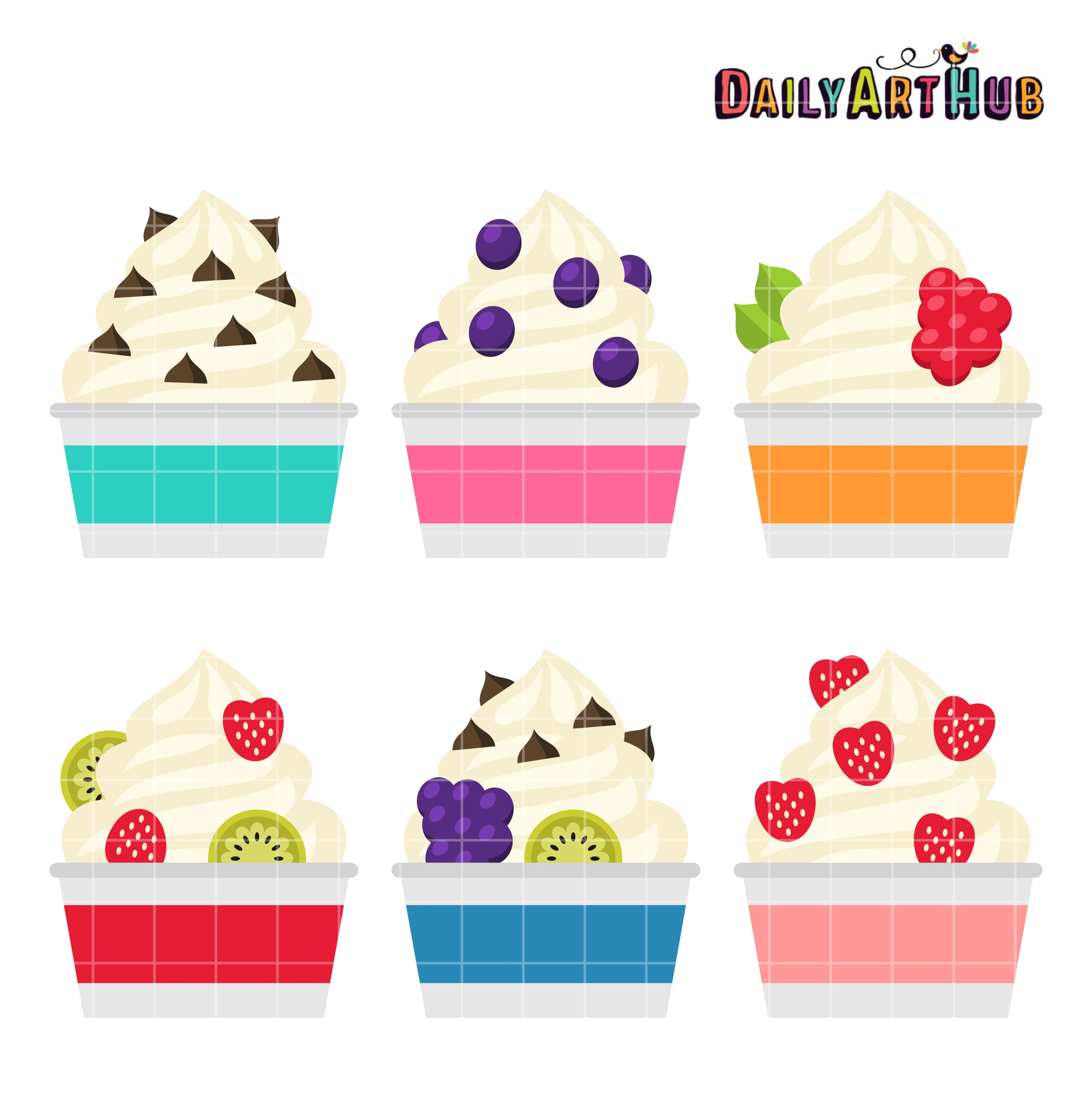 Frozen Yogurt Clip Art Set.