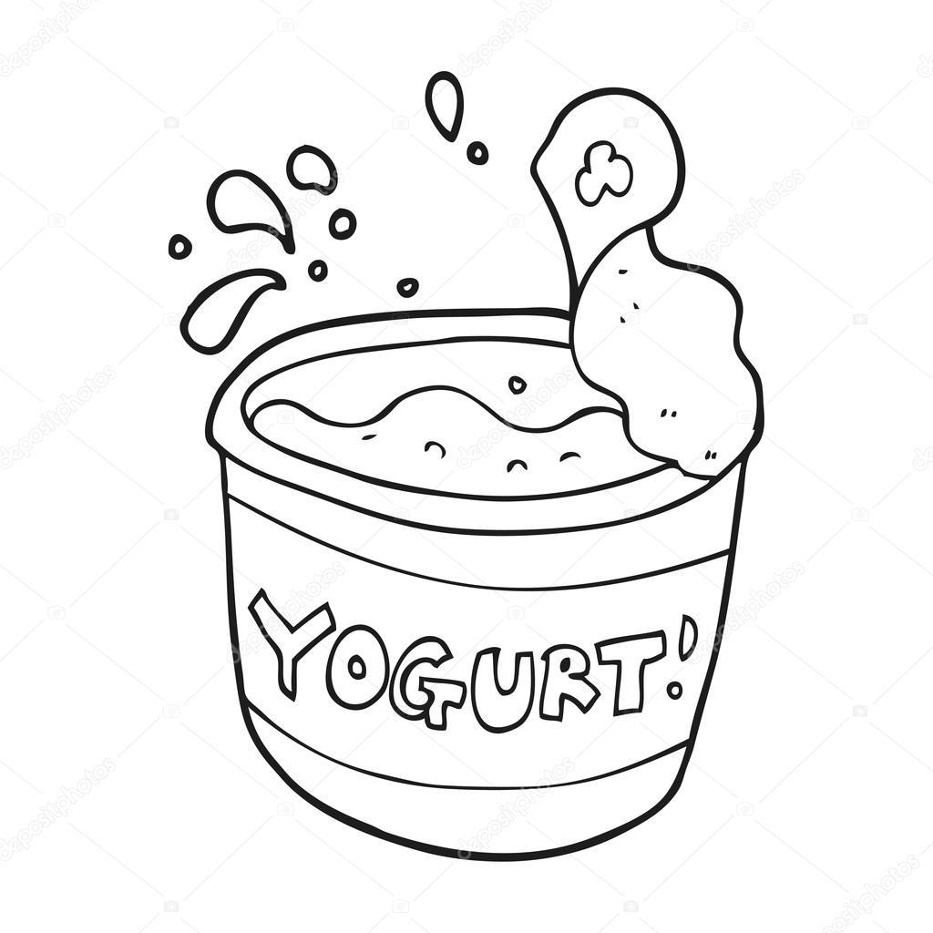 Clipart: yogurt black and white.