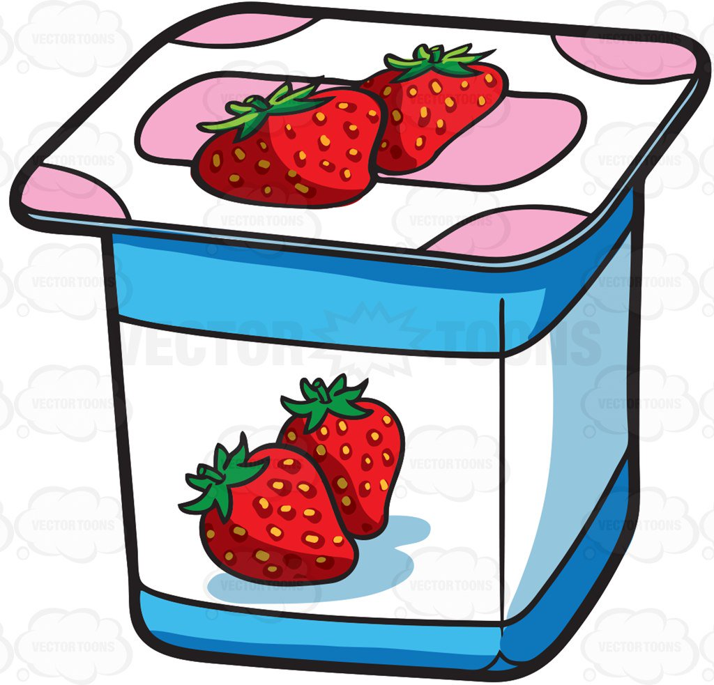 Cartoon Clipart: A One Serving Strawberry Yogurt For Sale.